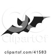 Clipart Illustration Of A Black Silhouetted Bat