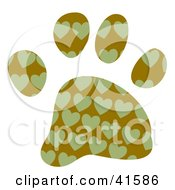 Clipart Illustration Of A Green Heart Patterned Paw Print by Prawny