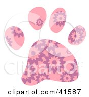 Clipart Illustration Of A Pink And Purple Burst Patterned Paw Print by Prawny