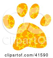 Clipart Illustration Of An Orange And Yellow Burst Patterned Paw Print by Prawny