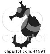 Clipart Illustration Of A Black Silhouetted Seahorse