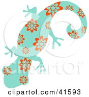Clipart Illustration Of A Blue And Red Floral Patterned Gecko