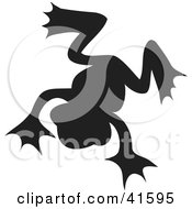 Clipart Illustration Of A Black Silhouetted Frog by Prawny