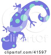 Clipart Illustration Of A Purple And Blue Dot Patterned Gecko