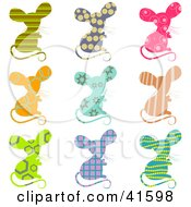 Nine Colorful Patterned Mice