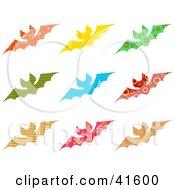 Clipart Illustration Of Twelve Colorful Patterned Bats