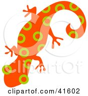 Clipart Illustration Of An Orange And Green Circle Patterned Gecko