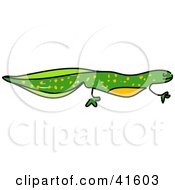 Clipart Illustration Of A Sketched Green Newt by Prawny