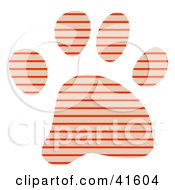 Clipart Illustration Of A Tan And Orange Striped Patterned Paw Print by Prawny