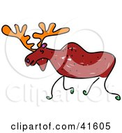 Clipart Illustration Of A Sketched Moose