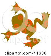 Clipart Illustration Of A Brown And Orange Floral Patterned Frog by Prawny