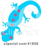 Clipart Illustration Of A Blue And Pink Sun Patterned Gecko