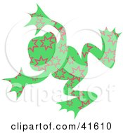 Clipart Illustration Of A Green And Pink Burst Patterned Frog by Prawny