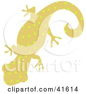 Clipart Illustration Of A Tan And Yellow Spotted Patterned Gecko