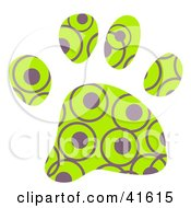 Clipart Illustration Of A Green And Purple Circle Patterned Paw Print by Prawny