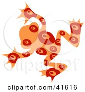 Clipart Illustration Of An Orange And Red Circle Patterned Frog by Prawny