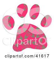 Clipart Illustration Of A Pink And Gray Floral Patterned Paw Print by Prawny