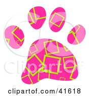Clipart Illustration Of A Pink And Green Square Patterned Paw Print by Prawny