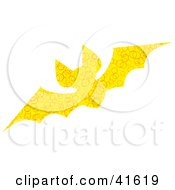 Clipart Illustration Of A Yellow Circle Patterned Bat