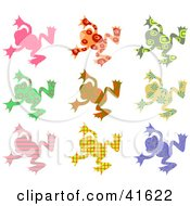 Nine Colorful Patterned Frogs