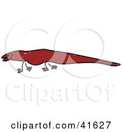 Clipart Illustration Of A Sketched Brown Monitor Lizard