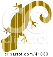 Clipart Illustration Of A Brown And Tan Striped Patterned Gecko