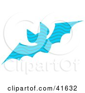 Clipart Illustration Of A Blue Wave Patterned Bat