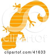 Clipart Illustration Of An Orange And Brown Striped Patterned Gecko