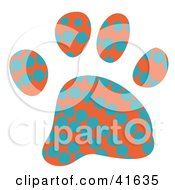 Clipart Illustration Of An Orange And Blue Dot Patterned Paw Print by Prawny