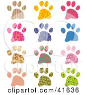 Clipart Illustration Of Twelve Colorful Patterned Paw Prints by Prawny
