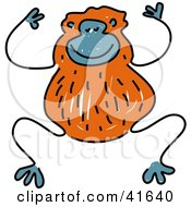 Clipart Illustration Of A Sketched Brown Monkey