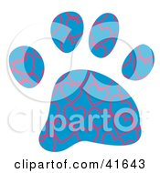 Clipart Illustration Of A Blue And Pink Heart Patterned Paw Print by Prawny
