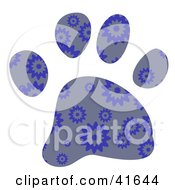 Clipart Illustration Of A Gray And Blue Burst Patterned Paw Print by Prawny