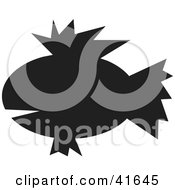Clipart Illustration Of A Black Silhouetted Fish