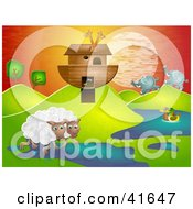 Clipart Illustration Of Sheep Elephant And Ducks Near Giraffes On Noahs Ark In A Hilly Landscape