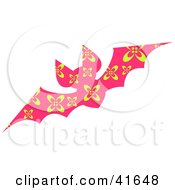 Clipart Illustration Of A Pink And Yellow Floral Patterned Bat