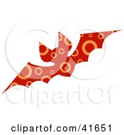 Clipart Illustration Of A Red And Orange Circle Patterned Bat