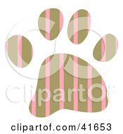 Clipart Illustration Of A Brown And Pink Striped Patterned Paw Print by Prawny