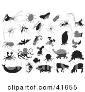 Clipart Illustration Of Black Bug And Animal Silhouettes