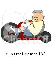 Boy Riding A Big Wheel Toy Clipart by djart