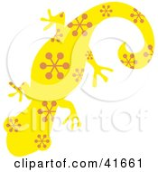 Clipart Illustration Of A Yellow And Brown Patterned Gecko