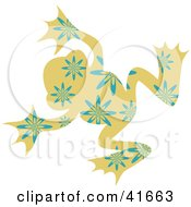 Clipart Illustration Of A Tan And Blue Floral Patterned Frog by Prawny
