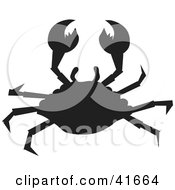 Clipart Illustration Of A Black Silhouetted Crab by Prawny