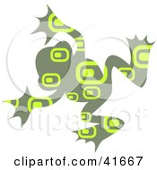 Clipart Illustration Of A Green Rectangle Patterned Frog