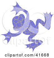 Clipart Illustration Of A Blue And Yellow Circle Patterned Frog by Prawny