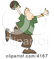 Man Throwing A Bowling Ball Clipart