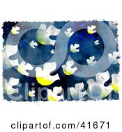 Clipart Illustration Of A Grungy Doves In A Blue Sky Background by Prawny