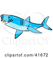 Clipart Illustration Of A Sketched Blue Shark by Prawny