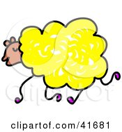 Clipart Illustration Of A Sketched Yellow Sheep by Prawny