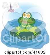Clipart Illustration Of A Green Frog On A Lily Pad Watching A Dragonfly by Prawny